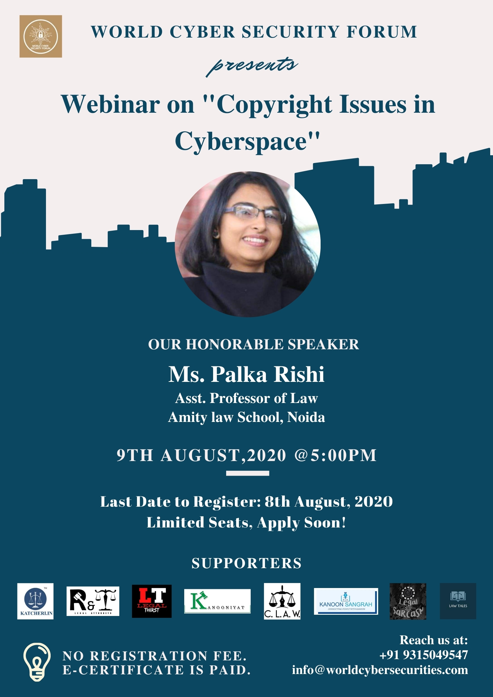 """World Cyber Security Forum's Webinar on """"Copyright Issues in Cyber Space"""""""